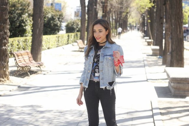 black graphic t-shirt with denim jacket and collar