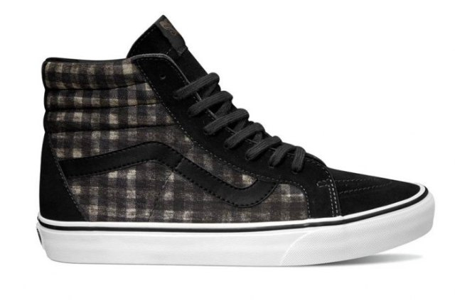 black gray and white tall canvas shoes