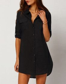 black shirt dress with half sleeves