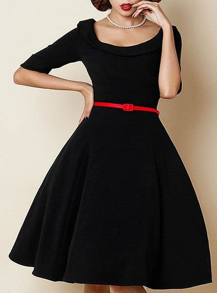 black, half-sleeved fit and knee-length dress with a flared belt