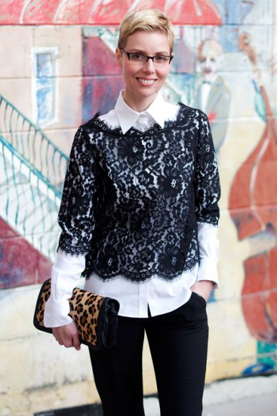 black half-sleeved lace blouse white shirt with buttons