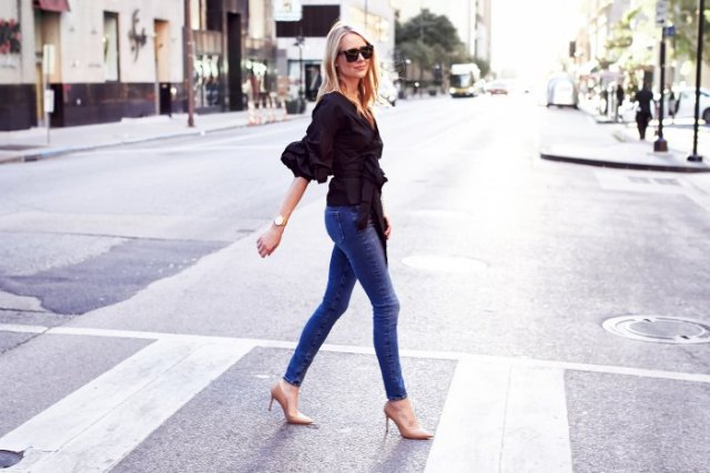 black skinny jeans with ruffles and wrap