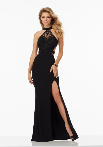 black halterneck high split maxi dress