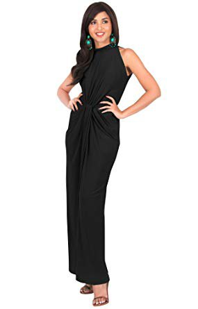 black maxi dress with halter neck and open toes