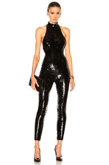 black, narrow, tight overall with halter neck sequins