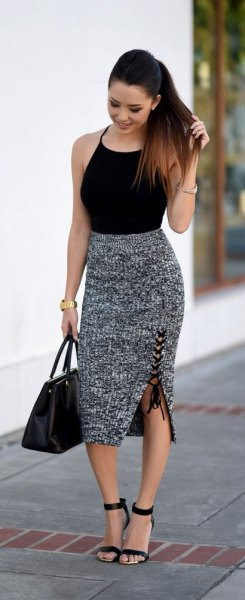 black halter top with gray heather midi knitted skirt