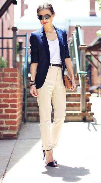 black heels beige suit pants blazer