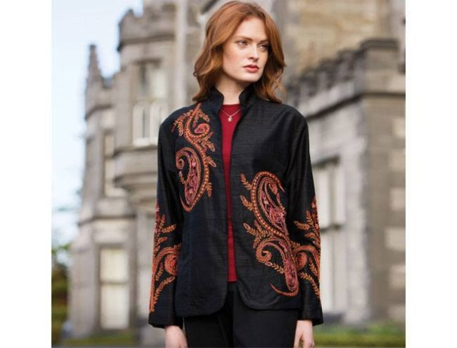 black embroidered silk jacket with high neckline and red top