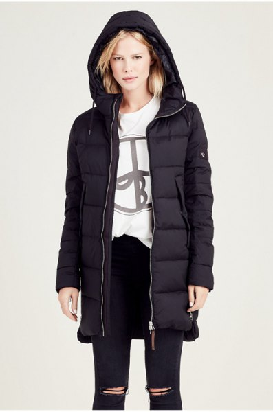 black down jacket with hood and white graphic sweatshirt