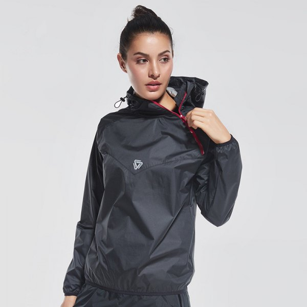 black nylon sports coat with hood and matching running pants