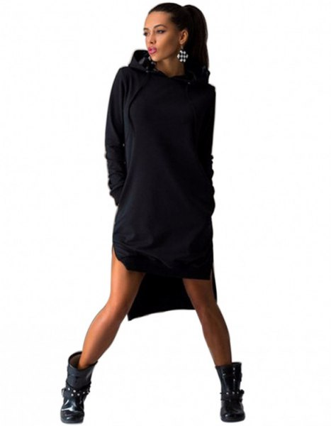 black hoodie dress with leather ankle boots