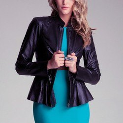 black jacket with figure-hugging midi dress with blue-green belt