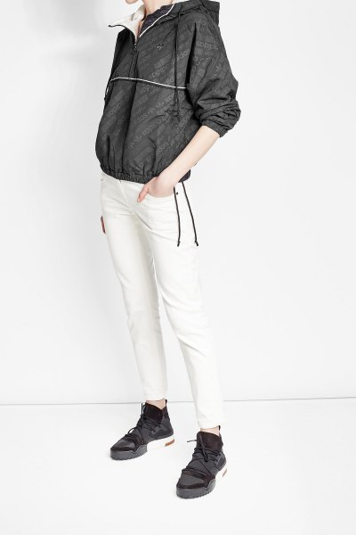 black jacket with white, narrow windbreaker
