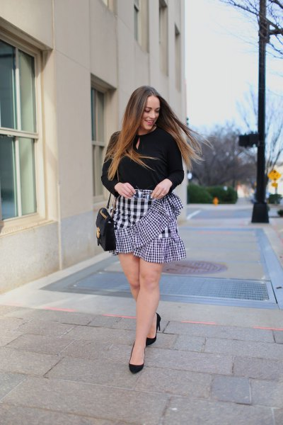 black keyhole sweater with checked mini frill skirt