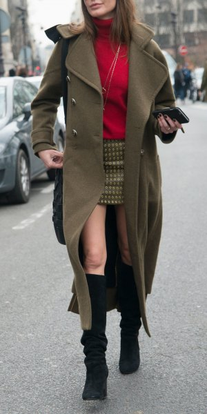 black knee high boots long green trench coat