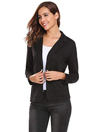black knitted blazer with skinny jeans and white top