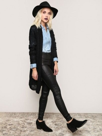 black cardigan chambray shirt black leather pants