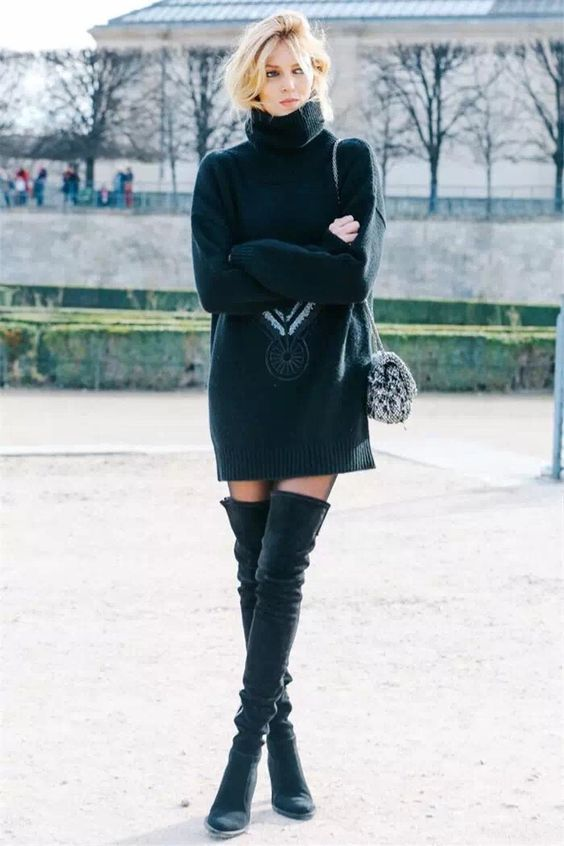 black knitted dress model off duty