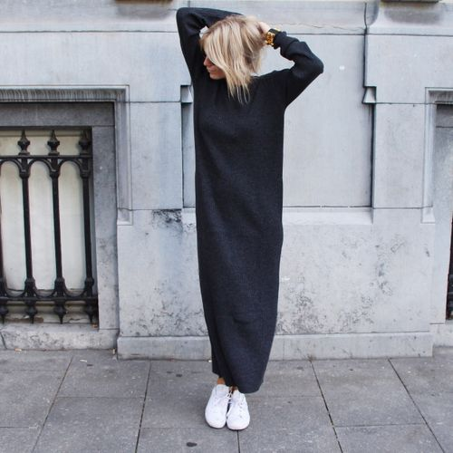black knitted dress oversized