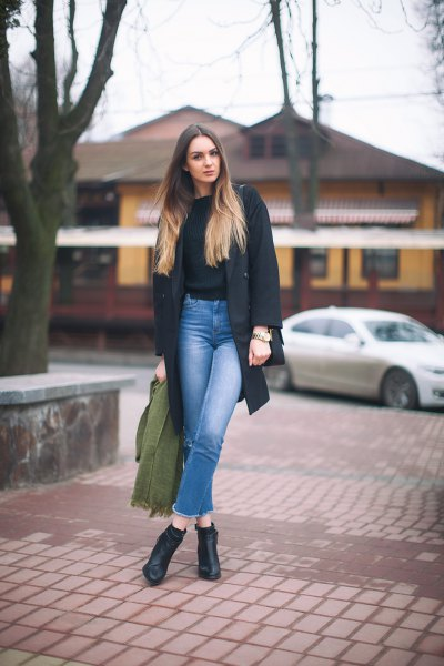 black knitted sweater gray wool coat mom jeans