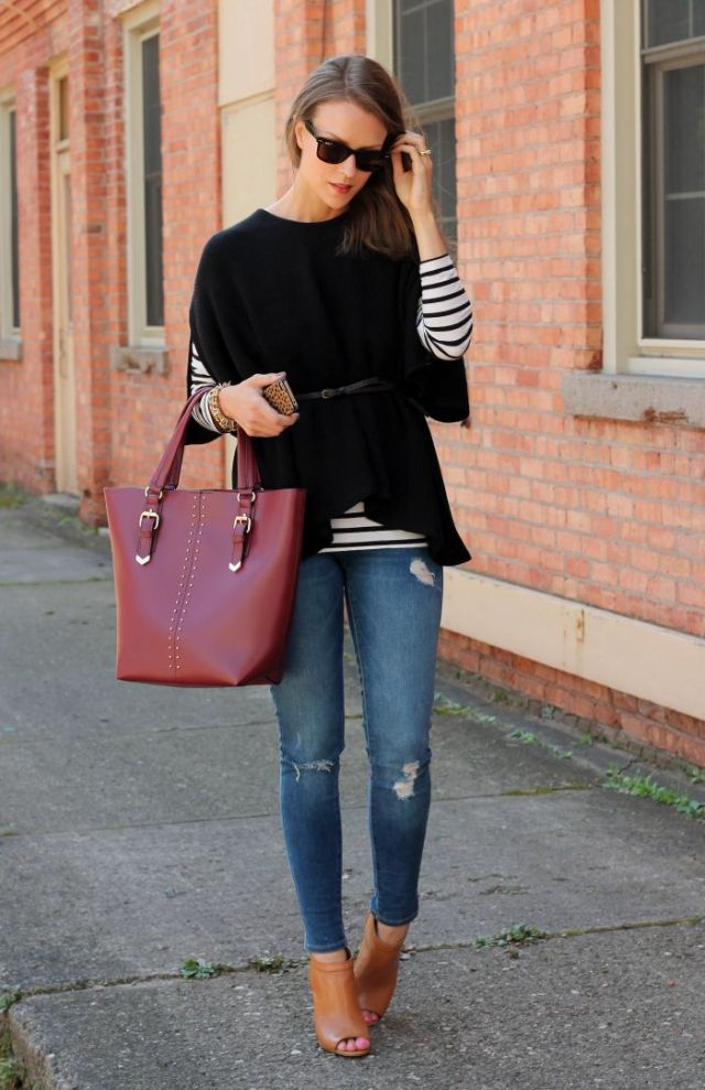 black knitted sweater with open toe boots