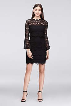 Black lace mini cocktail dress with bell sleeves