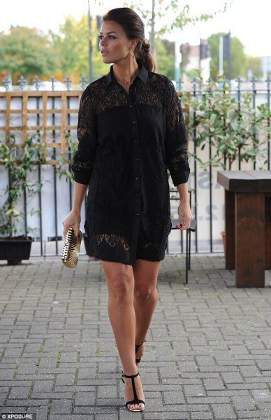 black lace shirt shorts with buttons