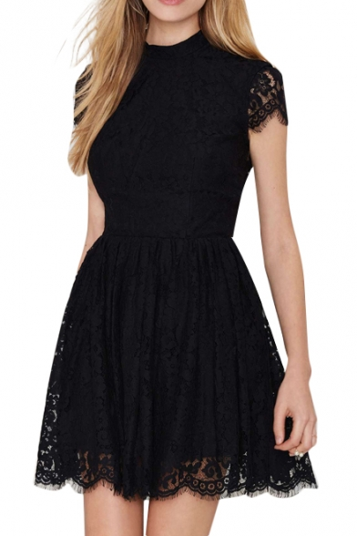 Backless Short Sleeve A-line Black Lace Dress - Beautifulhalo.c