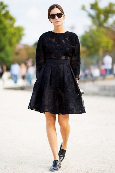 Knitted sweater with a black lace skirt