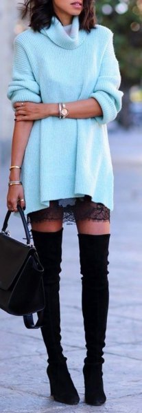 black lace mini skirt and overknee suede boots