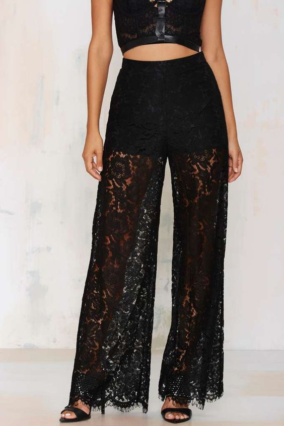 Black Lace Pants: 15 Sexy and Elegant Outfit Ideas - FMag.c