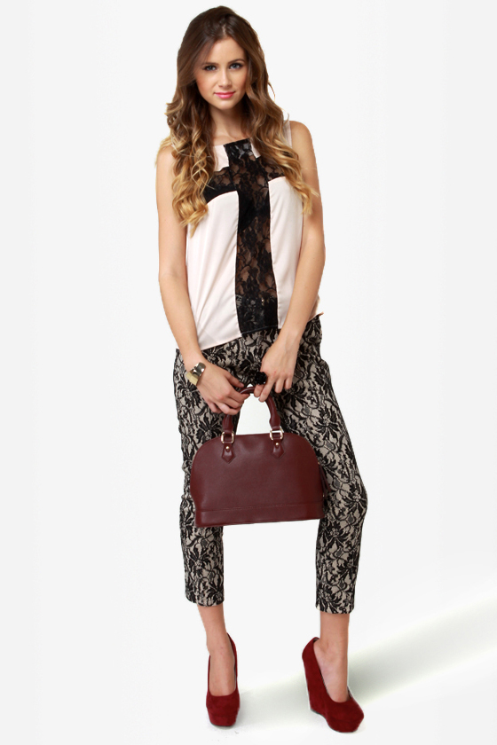 black lace trousers double