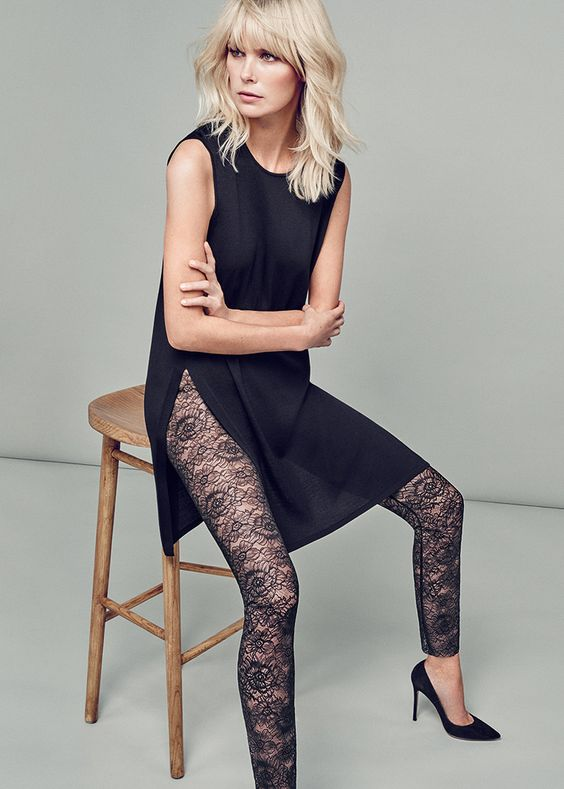 black lace pants layer
