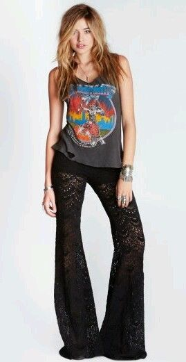 black lace pants hippie