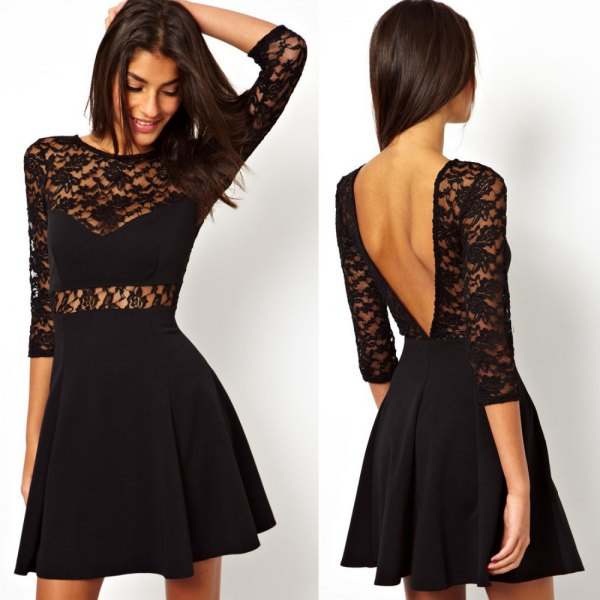 black lace skater dress with an open back