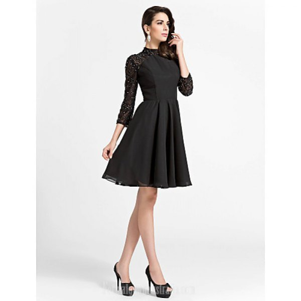 black skater dress with lace sleeves