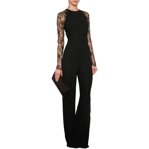 black overall with wide sleeves and wide legs