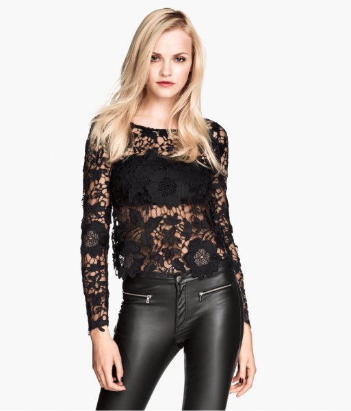 black leather leggings with lace top