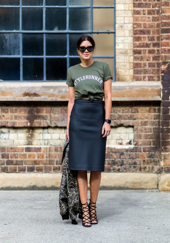 black pencil skirt with lace-up shoes