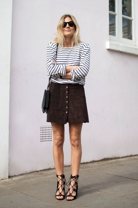 black suede skirt with lacing