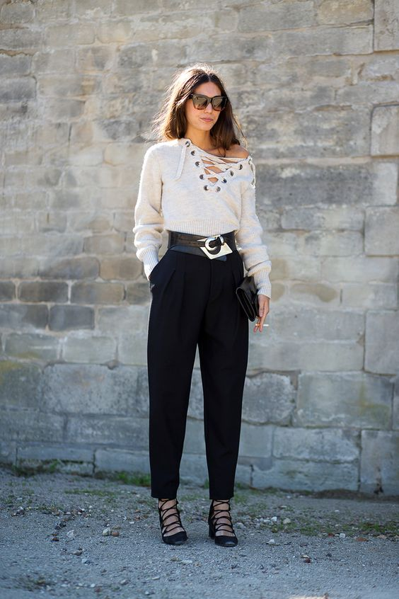 black lace-up shoes white sweater