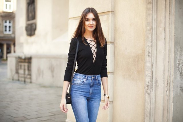 black laced, blue-washed skinny jeans