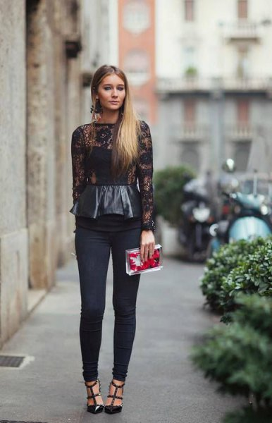 Long-sleeved peplum top made of black leather and lace with narrow pants