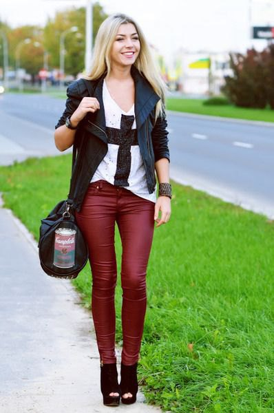 black leather blazer with matching red drainpipe trousers