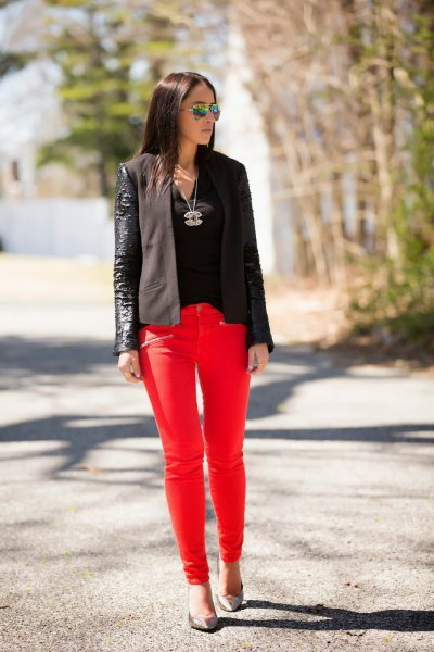 black leather blazer with red skinny jeans