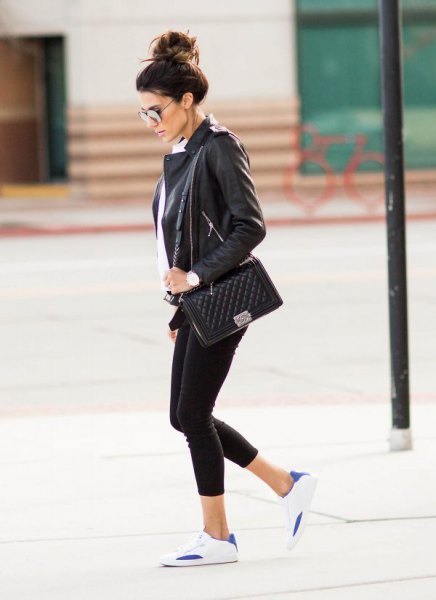 black leather blazer with white shirt and sneakers