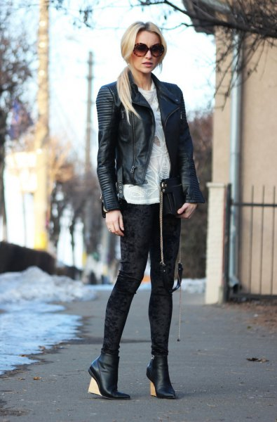 black leather blazer with white velvet gaiters