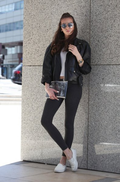 black leather bomber jacket with cropped T-shirt and white canvas sneakers