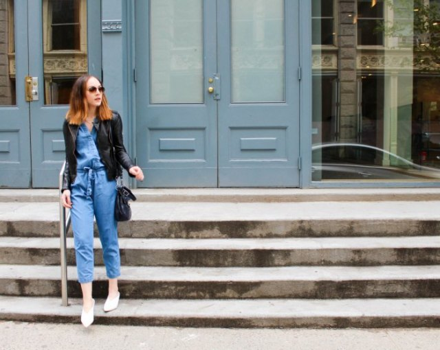 black leather jacket chambray overall