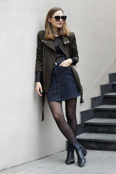 black leather jacket jeans button front skirt